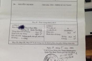 Bán nhà 4,95 tỷ - hẻm 8m Thoại Ngọc Hầu, P. Phú Thạnh, Q. Tân Phú - LH: 0914443186 (Đạt)