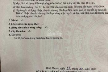 Chính chủ cần bán gấp đất tại Minh Long, Chơn Thành, Bình Phước 5x50mx100m2 thổ cư sổ sẵn