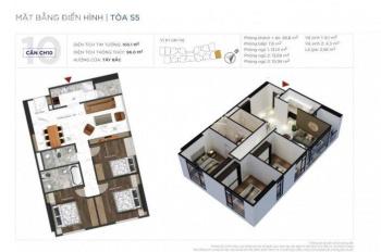 Bán cắt lỗ hợp đồng căn góc số 10, ban công Đông Nam thiết kế 3PN tòa S5 dự án Sunshine City Hà Nội