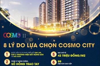 MỞ bán dự án căn hộ Cosmo City II tại quận 7. Chiết khấu 3%, góp 0%/tháng, tt 800tr/căn 2pn 63m2