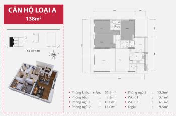 Cần bán căn hộ 138m2 tầng 11, giá 33 triệu/m2, nhận nhà ở ngay