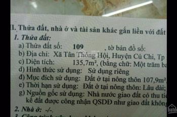 Bán đất gần ngã tư Quán Đôi Tân Phú Trung, Củ Chi diện tích 135,7m2, SHR, 640tr. LH: 0358.655.559