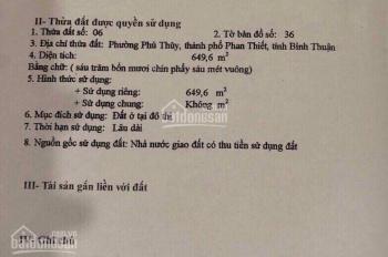 Cần bán 650 m2, 2 mặt tiền đường Tôn Đức Thắng, P. Phú Thuỷ, TP. Phan Thiết, Bình Thuận