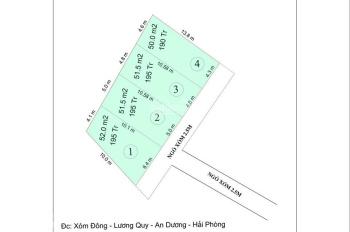 Bán đất thôn Lương Quy, xã Lê Lợi. Diện tích 52m2, gần trường học, UBND, chợ xã Lê Lợi