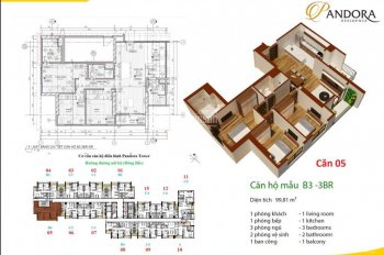Bán chung cư Pandora lô góc, 3 phòng ngủ, view vườn hoa, diện tích 99.8m2