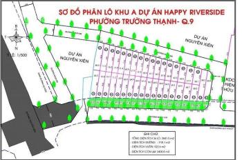 Còn 22 nền DA Happy Riverside, MT Nguyễn Xiển, 55 - 120m2, TT 1 tỷ 5 NH vay 70%, LH 0938513545