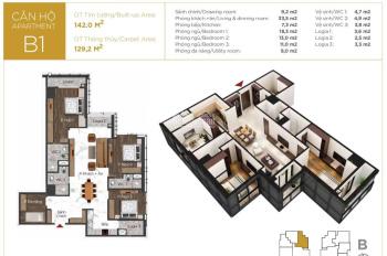 Chính chủ bán lại căn 01 toà B dự án Sunshine Center 16 Phạm Hùng. diện tích 129m2, thiết kế 4PN