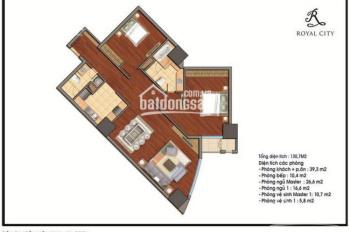 Bán cắt lỗ sâu căn hộ 2PN tòa R1 Royal City, 130m2, view bể bơi, giá 4tỷ. LH 0988 942 995