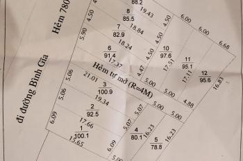 Đất Hẻm 780 Bình Giã P10, TPVT, sổ đồng sở hữu bìa riêng, bao xây dựng , 710tr/lô, LH: 0938.605.093