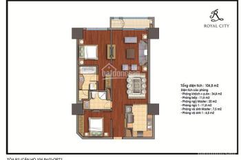 Chính chủ bán căn hộ Royal City toà R2 104m2 2 ngủ, giá chỉ 4.1 tỷ LH:0939585599
