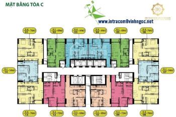 Bán gấp căn hộ 1803 CC Intracom Riverside, diện tích 65.1m2, giá 21tr/m2. LH 090456638 chị Linh
