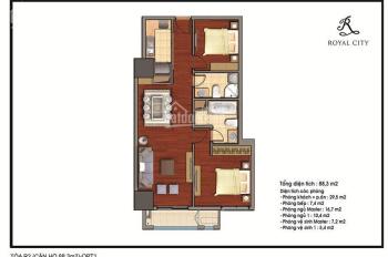 Chính chủ Bán căn hộ 88m2 toà R2 Royal City - Gía chỉ 3.5 tỷ - LH: 0939585599