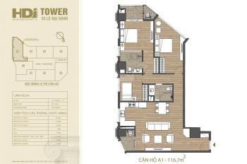Bán căn 3PN 2 ban công Đông Nam A1 HDI Tower 55 Lê Đại Hành, 9.9 tỷ, 116.7m2, CK 100tr, HT 70%