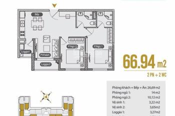 Chính chủ bán cắt lỗ căn hộ 2PN 66.04m2, giá 1.550 tỷ có TL, bao thuế phí sang tên 0981683212