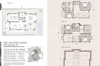 Biệt thự đơn lập 480m2 đất, Vinhomes The Harmony Long Biên, giá 38,5 tỷ LH 0962568365