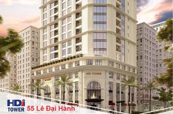 Bán căn 3PN ban công Đông Nam tầng cao chung cư 55 Lê Đại Hành HDI Tower 8.1tỷ, CK 100tr, bank 70%