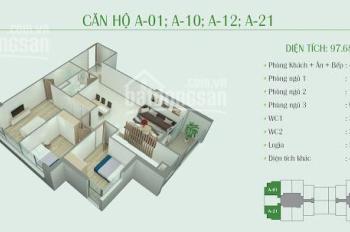 O976 807 257, chính chủ cần bán gấp CC Eco Dream, tầng 1812, DT 97,68m2, giá 2.8 tỷ (MTG)