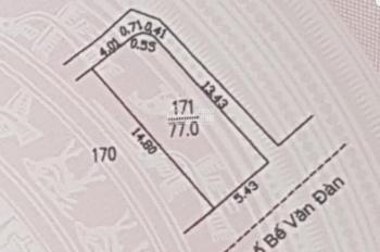 Tôi cần bán gấp lô đất 3 mặt thoáng DT 77m2, MT 5,5m trên mặt phố Bế Văn Đàn. KD siêu đỉnh