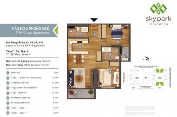 Bán căn hộ A4, 71m2, 2PN, 2WC, view công viên hồ điều hòa 32ha Yên Hòa, chung cư Sky Park Residence