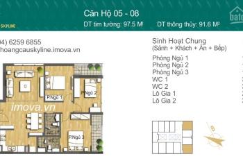 Bán căn hộ 3 ngủ tại chung cư Hoàng Cầu Skyline , giá 5,3 tỷ nội thất cơ bản