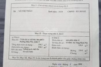 Nhà đang kinh doanh, MT Tân Lập 2, Hiệp Phú, 150m tới Vincom Q9: Ngang 5m CN 216 m2 thổ, giá 7.3 tỷ