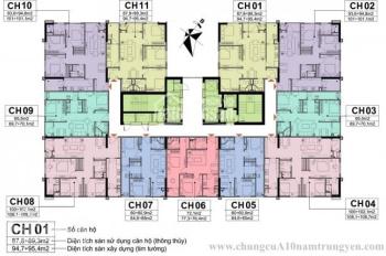 Bán lỗ CHCC A10 Nam Trung Yên, 1610 - CT1: 94.8m2 & 1606 - CT: 72,6m2, giá 29tr/m2. LH 09062I7669