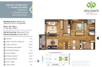 Bán căn hộ 07, diện tích 86m2, 2PN + 1 đa năng 8m2, giá 4.4 tỷ, chung cư Sky Park Residence