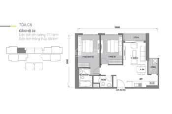 Bán căn 2PN 76,8m2 tầng trung full nội thất tòa vip C6 dự án D'.Capitale giá 3,6 tỷ, LH 0944010255
