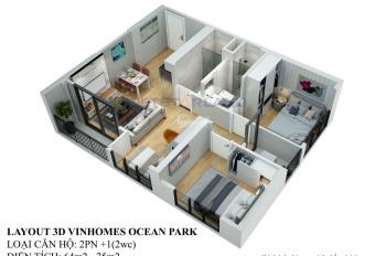 Căn 2PN - 63m2 - chung cư Vinhomes Smart City, phân khu Sapphire 4