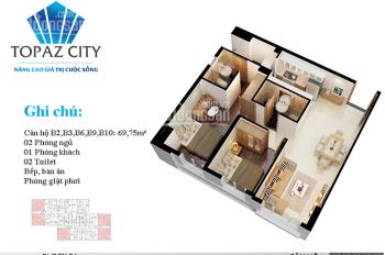 Căn hộ Topaz City đầy đủ nội thất: Block B1, tầng 14, với 2 phòng ngủ, 2WC, diện tích 70m2