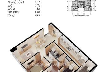 Căn hộ Topaz City full nội thất: Block A2, tầng 15, thiết kế 2 phòng ngủ, 2 WC, diện tích 70m2