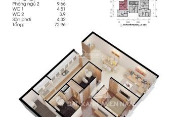 Căn hộ Topaz City đầy đủ nội thất: Block A2, tầng 25, có 2 phòng ngủ, 2 nhà vệ sinh, diện tích 73m2