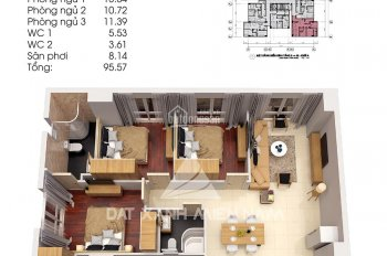 Căn hộ góc Topaz City: Block A1, tầng 3, với 3 phòng ngủ, 2 nhà vệ sinh, diện tích 95m2