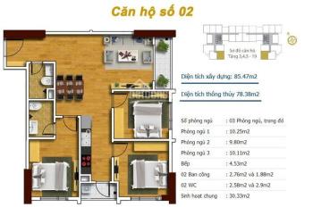 Bán căn hộ B2602 DT 78.38m2, 3PN tại dự án Tecco Skyville Thanh Trì (1.550 tỷ, 19.7tr/m2)