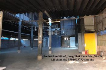 Cho Thuê Kho Mặt Tiền Đường Long Thới Nhơn Đức Nhà Bè, 510m2/Giá 36tr, Kho Đẹp LH 0908663793