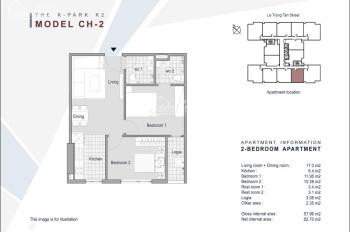 Bán căn hộ 58m2 tại tòa K 2 dự án the K Park View CV hot tầng đẹp với giá 1,6 tỷ LH: 0866019709