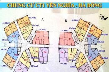 Chính chủ CC CT1 Yên Nghĩa cần bán gấp, căn 1508, DT 55m2, BC ĐN, giá nét 13.5tr/m2, LH 0979584600
