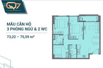 Bán căn hộ Q7 Boulevard 2PN, 2WC giá chỉ 2,9 tỷ cuối 2020 bàn giao nhà. LH: 0966259587(Hoa)