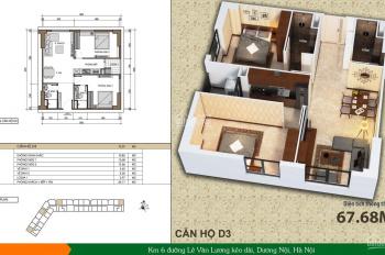 Bán căn hộ 72m2, 2PN, cửa Tây Nam tòa HH2C Dương Nội, giá 1,3 tỷ. LH 0946543583