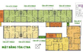 Bán căn hộ 86m2, 2PN, cửa Đông Nam tòa CT8A The Sparks Dương Nội, giá 1,2 tỷ. LH 0946543583