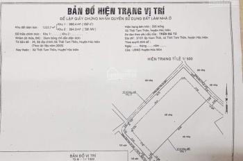 Vỡ nợ cần bán gấp lô đất 1222.7m2 (868.4m2 thổ cư) ở Hóc Môn, 3 mặt tiền, LH 0937172626