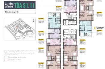 Bán căn 3PN giá tốt Vinhomes Ocean Park, tòa S1.11, hướng Tây Bắc - Tây Nam, tầng thấp, 2,387 tỷ