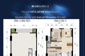 Căn hộ shophouse 1 trệt 1 lầu,tầng trệt kinh doanh buôn bán,tầng 1 ở 2pn-2wc -0906.226.149