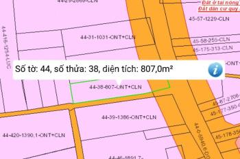 Cần bán lô đất 807m2 có  300 thổ. 2 mặt tiền đường hùng vương xã phú đông
