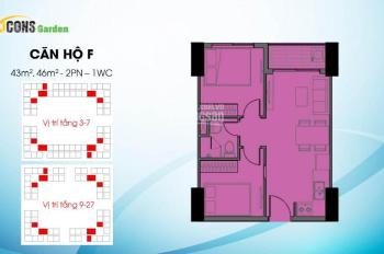 Sang nhượng căn hộ Bcons Garden 43 - 36m2, 2PN 1WC chênh lệch thấp
