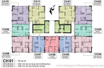 Bán rẻ suất NG CC A10 Nam Trung Yên, 60m2, 65m2, 72m2, 89m2, 102m2, giá 27.4tr/m2 0906217669