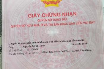Chính chủ cần bán đất mặt tiền tại Gò Công Tây, tỉnh Tiền Giang. Liên hệ ngay 0907436553