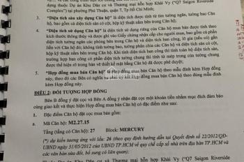 Thu hồi vốn giá hợp đồng Q7 Saigon Riverside 1 + 1PN - 27.15 view sông + Đào Trí 53m2 0934663657