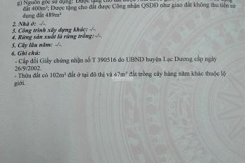 Chính chủ cần bán gấp trong tuần đất nền biệt thự mặt tiền đường Bi - Doup, Lạc Dương, Lâm Đồng