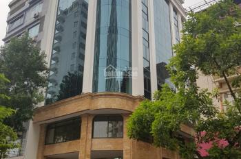 Cho thuê nhà mặt phố Trần Quốc Hoàn, Cầu Giấy DT 180m2 x 8T nổi + 1H, mặt tiền 15m. Giá 180tr/th